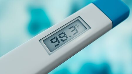 close-up of a body thermometer, temperature is normal, fahrenheit (3d render)