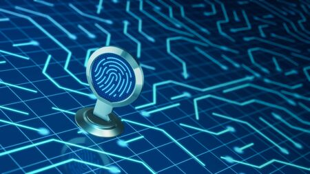 key with a fingerprint and an eletronic circuit, concept of computer security (3d render) Stock Photo