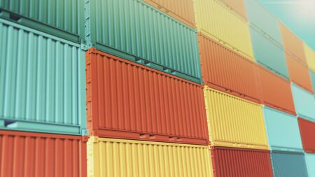 close-up view of a stacks of coloured shipping container (3d render) Stock Photo