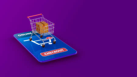 stylized smartphone with an online shopping app, shopping cart and a carboard, copy space (3d render)