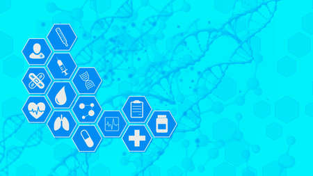medical scientific background, hexagon grid with icons related to medicine and research, molecular structure on background, copy space (3d render)