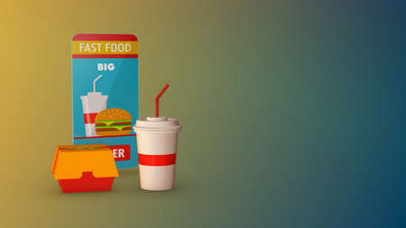 order food online, smartphone with a dedicated app, fast delivery, copy space (3d render)