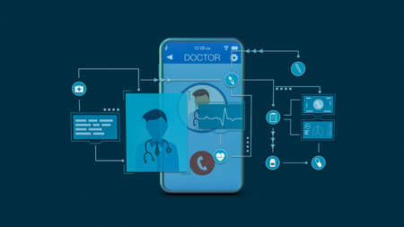 concept of telemedicine, smartphone app, first aid, online diagnosis, augmented reality (3d render)