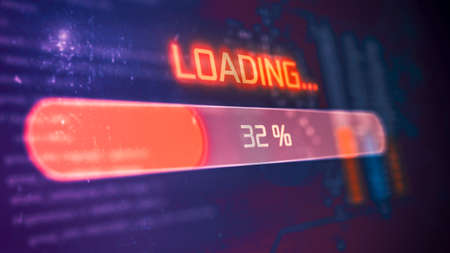 futuristic interface with a progress bar and programming code on background (3d render)