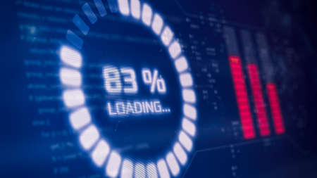futuristic interface with a circular progress bar, loading data, programming code on background (3d render)
