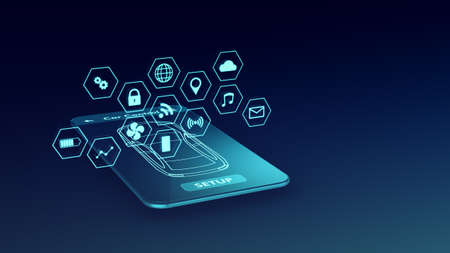 modern smartphone with an app for remote control of the car, futuristic holographic interface, luma matte for background replacement, seamless loop (3d render)