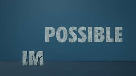 from impossible to possible, shattering of the first two letters, concept of opportunity, possibility and determination (3d render)