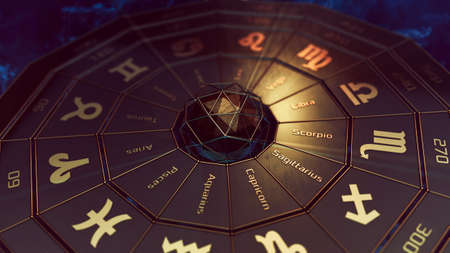 futuristic armillary close-up illustration, zodiac signs and names, months and degrees (3d render)