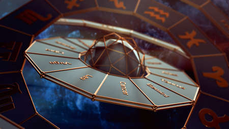 futuristic armillary close-up illustration, zodiac signs and names, months and degrees (3d render) Foto de archivo