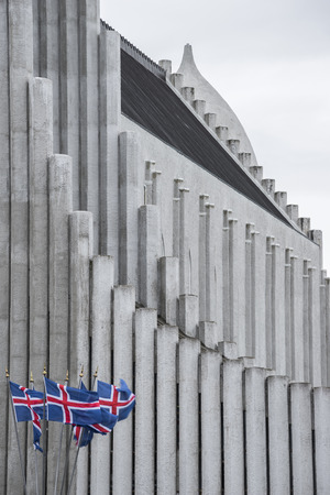 laborers: the famous church of Reykjavic and some flags