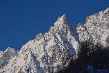 noire: Peack in the Italian Alps: Aiguille Noire de Peuterey MONT BLANC Stock Photo