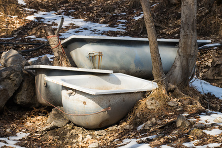 Old Metal Bathtubs Left In The Woods Used To Drink Cows Stock Photo    35274323