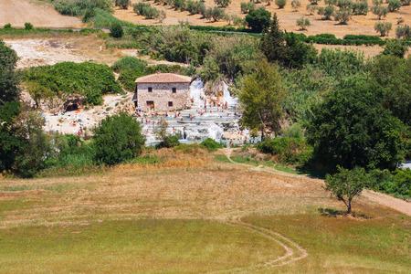 Gorello mills waterfall of sulphurous spring water in  Saturnia tuscany