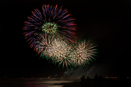 pyrotechnic: People admiring pyrotechnic show from the beach fireworks reflecting in the water In Forte dei Marmi Stock Photo