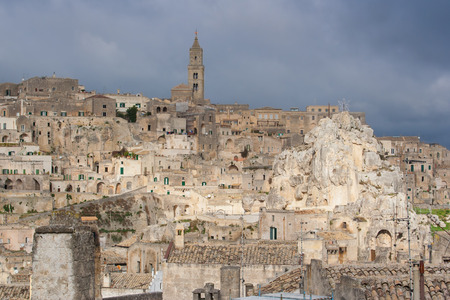 rupestrian: view of old town of Matera in Basilicata Italy in a cloudy day