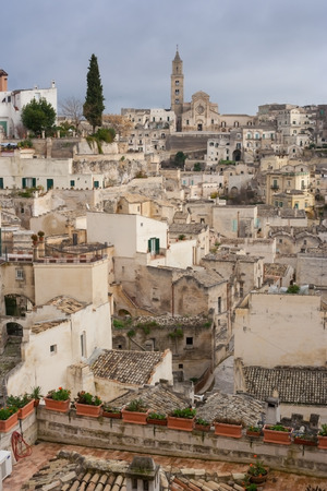 lucania: vertical view of old town of matera  in Basilicata Italy
