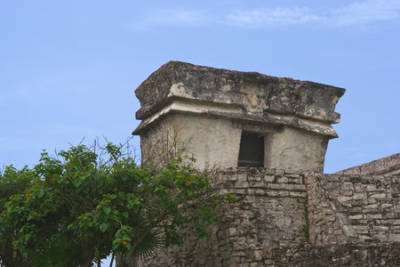 descending: detail of Temple of the Descending God in Tulum Riviera Maya Quintana Roo Mexico