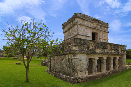 roo: Temple of the Frescoes paintings or in Tulum, Riviera Maya, Quintana Roo, Mexico