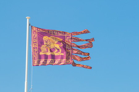 fringes: flag of the republic of venice golden lion of saint mark in red background six fringes