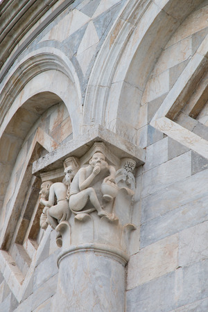 attributed: Capital intertwining with Monkeys at the basis of Pisa Leaning Tower Attributed to Biduino