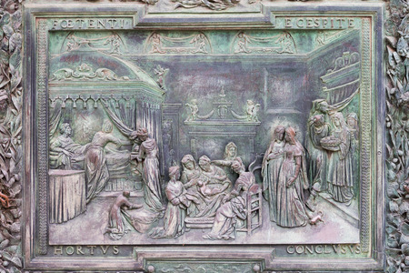 miracle square: Bronze panels of the main door of Pisa Cathedral representing the birth of the Virgin made by Giambologna workshops Editorial