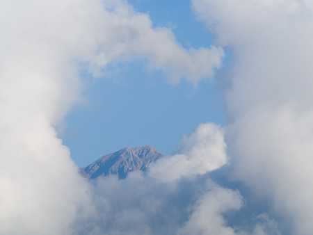 heavenly: Top of Pania mountain in the Apuan Alps surrounded by white heavenly clouds. This mountain is in Versilia Tuscany Norther