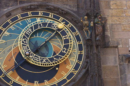 astronomical: Prague astronomical clock detail of hands and astronomical dial Stock Photo