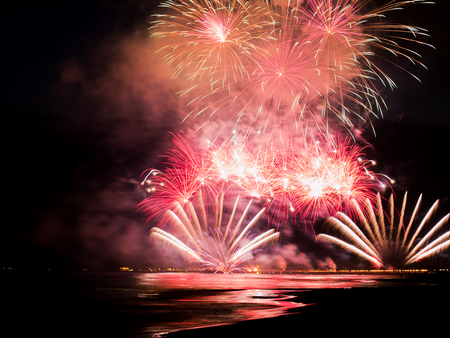 pyrotechnic: pyrotechnic show fireworks reflecting in the water during  International Fireworks Festival In Forte dei Marmi