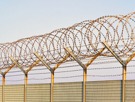 concertina: Detail of a metal grid fence with loops of  Concertina razor wire and barbed wire