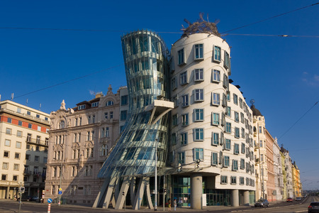 Dancing house landmark of Prague Czech republic. Blue sky background