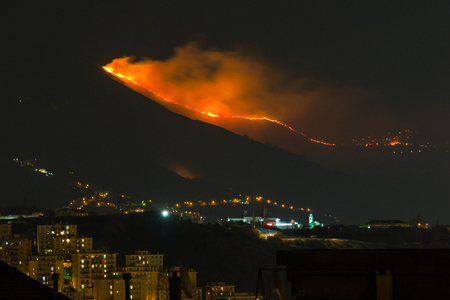 Genoa, Italy, january 16, 2017: forest fire in the mountains above the city, flames next to houses,