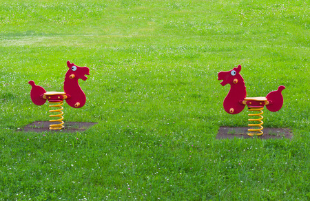 two spring horse toy surrounded by grass in the  meadow of playground full of flowers