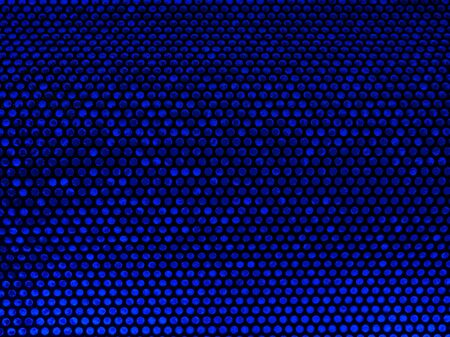 pattern with blue dots on black background, created by a metal grill