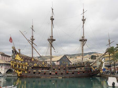 Genoa Italy_November 23, 2019:  Neptune, ship replica of a 17th-century Spanish galleon