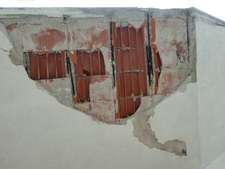 Ceiling Damaged after a weak earthquake, cement plaster and brick have fallen Archivio Fotografico