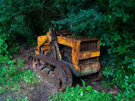 old yellow rusty track tractor abandoned and surrounded by vegetation Archivio Fotografico