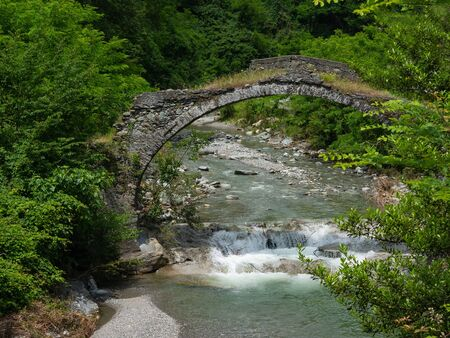 old stone  bridge in ruins, over a stream surrounded by trees Archivio Fotografico - 150265907
