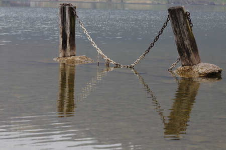 fence  made by a chain in the middle of a lake