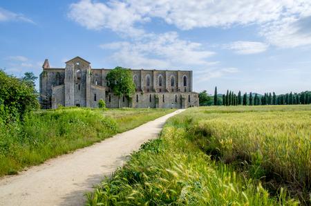 outside of the San Galgano abbey ruins in Tuscany, Italy