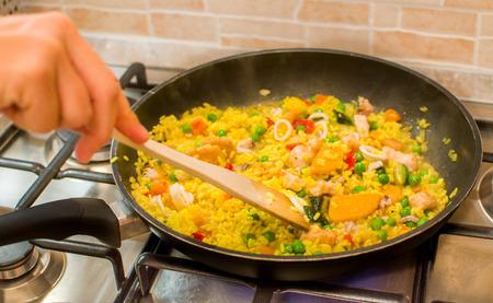 prepare: prepare paella Stock Photo