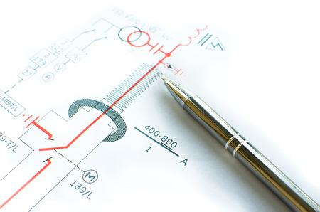 indicate: pen indicate mechanical scheme Stock Photo
