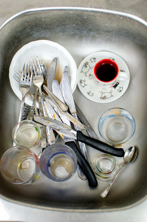 to sink: dirty dishes in the sink