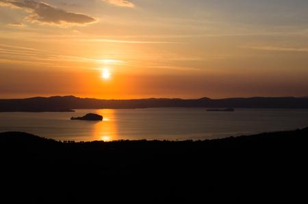 viterbo: Lake Bolsena sunset aerial view Lazio - Viterbo Italy Stock Photo