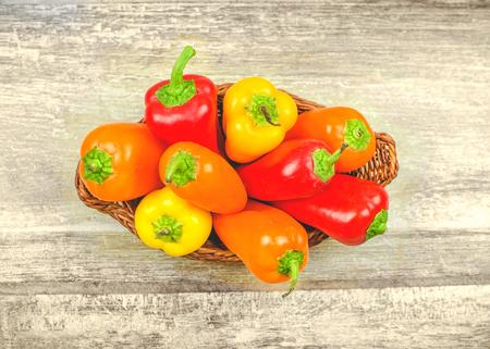 capsicum: capsicum basket background Stock Photo