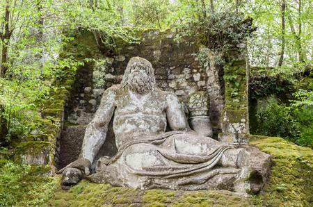 Editorial - Neptune statue in Bomarzo gardens - Lazio - Italy travel Foto de archivo