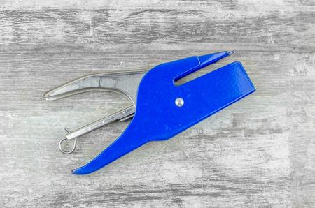 stapler: Blue stapler Stock Photo