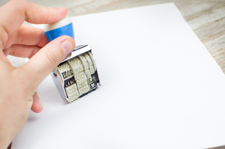 approval label: hand rubber stamp paper
