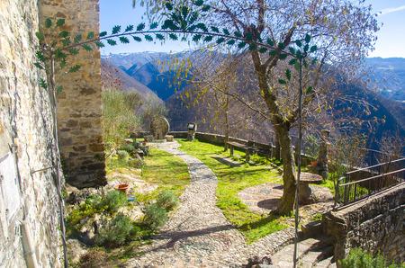 piacenza: belvedere garden entrance viewpoint in Brugnello - Bobbio - Piacenza - Emilia Romagna