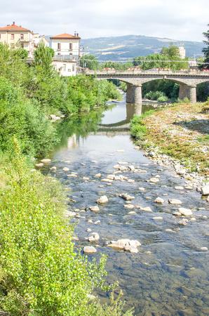 appennino: Porretta Terme -  Reno river bridge clear water