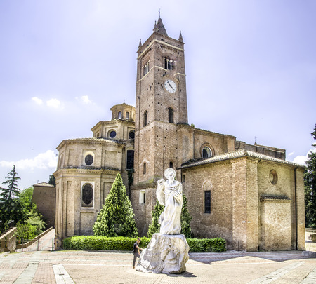 asciano: Asciano, Italy, May 31, 2015 - The exterior of the Monte Oliveto Maggiore abbey in Tuscany